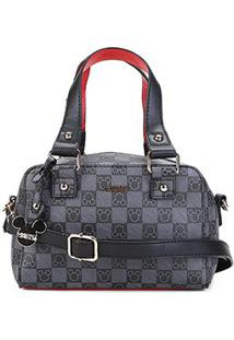 Bolsa Gash Mini Bag Monograma Mickey Alça Transversal Feminina - Feminino-Preto