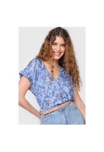 Blusa Colcci Folhagem Azul