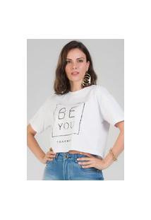 T-Shirt Ts0008 Cropped Oversize Estampada Branco