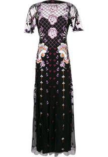 Temperley London Vestido Longo Com Bordado - Preto