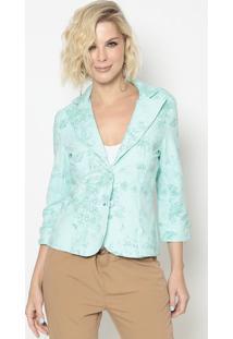 Blazer Floral Com Recortes- Verde Claro & Verde ÁGuacotton Colors Extra