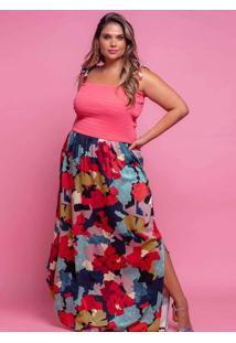 Vestido Almaria Plus Size Plump Longo Lastex Rosa