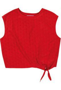 Blusa Vermelho Cropped Em Laise