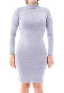 Vestido Moda Vicio Justo Manga Longa Gola Alta Feminino - Feminino