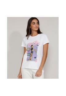 "Camiseta Feminina Manga Curta Friends Besties"" Decote Redondo Branca"""
