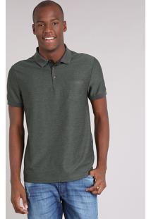 Polo Masculina Texturizada Com Bolso Manga Curta Verde