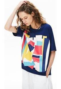 Camiseta Lacoste Boxy Fit Feminina - Feminino-Azul Navy