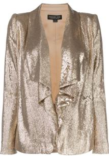 Rachel Zoe Blazer Drapeado Com Paetês - Dourado