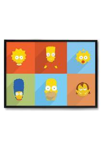 Quadro Decorativo 33X43Cm Nerderia E Lojaria Simpsons Minimalista Preto