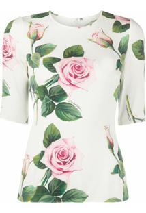 Dolce & Gabbana Blusa Sim Com Estampa De Rosas Tropicais - Branco