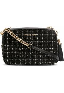Michael Michael Kors Jet Set Tweed Crossbody Bag - Preto
