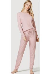 Pijama Longo Feminino Em Malha Canelada