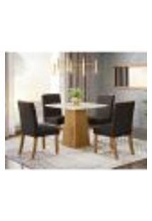 Mesa De Jantar Dora 90Cm 4 Cadeiras Tauá - Nature/Off White/Marrom