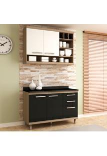 Cozinha Compacta New Vitoria 16 Avelã Tx/Onix/Bianco - Hecol