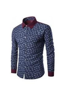 Camisa Masculina Texturizada Y509 - Azul E Branco
