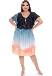 Vestido Evasê Jolie Laranja Plus Size