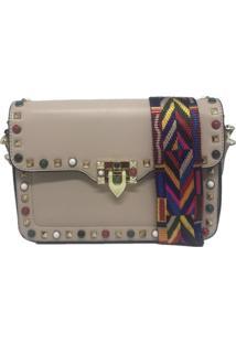 Bolsa Importada Transversal Alça Colorida Sys Fashion 8318 Bege
