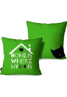 Kit Com 2 Capas Para Almofadas Pump Up Decorativas Home Is Where My Cat Is 45X45Cm