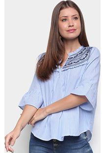 Blusa Miose Bordado Listrada Feminina - Feminino-Azul