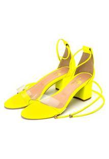 Sandália Salto Grosso Médio Em Napa Amarelo Neon Com Transparência