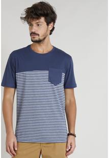 Camiseta Masculina Com Recorte E Bolso Manga Curta Gola Careca Azul Marinho