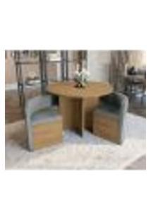 Conjunto De Mesa De Jantar Com 4 Cadeiras Cesky Linho Cinza E Freijó