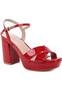 Sandália Shoestock Meia Pata Salto Alto Verniz Feminina - Feminino-Vermelho
