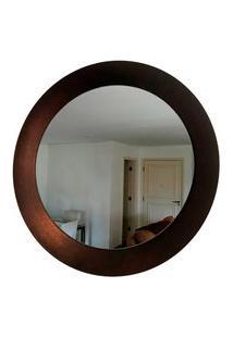 Espelho Decorativo Paella Cobre Craquelado 60 Cm Redondo