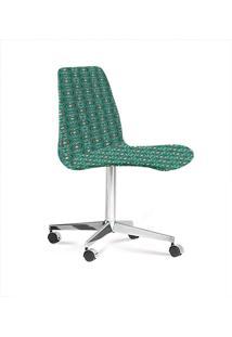 Cadeira Eames Base Cromada Com Rodizio Daf Verde/Cinza