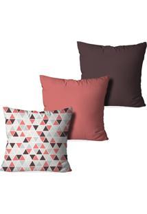 Kit 3 Capas Para Almofadas Decorativas Triangle Coral
