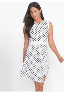 Vestido Evasê Estampado Branco