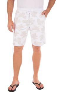 Bermuda Masculina Branca Estampada Em Moletom