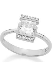 Anel Rommanel Skinny Ring Composto Por Zircônias Feminino - Feminino-Prata