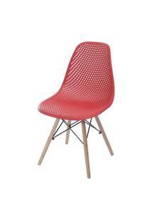 Cadeira Eames Furadinha Cor Vermelho Com Base Madeira - 55983 Preto