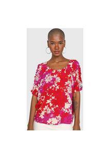 Blusa Cantão Floral Vermelha/Rosa