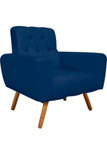 Poltrona Decorativa Pietra Suede Azul Marinho Com Pés Palito - D'Rossi