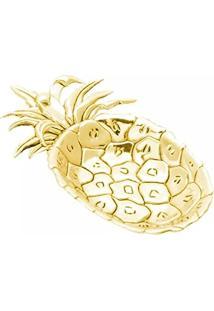 Bandeja De Zamak Pineapple, 16.5 X 10 X 2 Cm, Dourado, Lyor