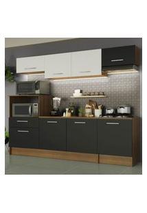 Cozinha Completa Madesa Onix 240002 Com Armário E Balcáo - Rustic/Preto/Branco 5Z77 Marrom