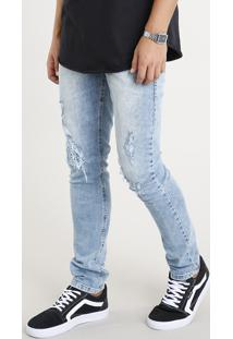 Calça Jeans Masculina Slim Com Rasgos Azul Claro