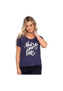 Camiseta Simone Saga Share Your Love Bordado Azul
