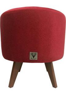 Puff Pé Palito Redondo Alce Couch Suede Animale Vermelho 40Cm