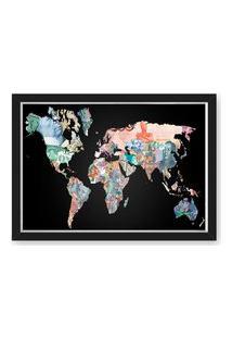 Quadro Mapa 33X43 Nerderia E Lojaria Mapa Dinheiro Preto
