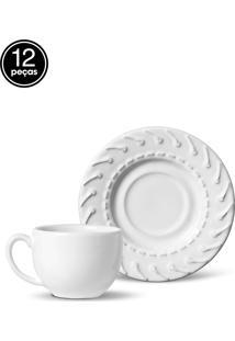 Conjunto 12Pçs Xícaras De Chá Porto Brasil Cordonê Branco