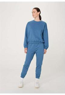 Calça Feminina Jogger Em Moletom Azul