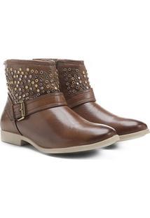 Bota Couro Biker Shoestock Tachas Feminina - Feminino-Caramelo