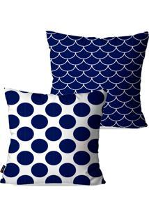 Kit Com 2 Capas Para Almofadas Pump Up Decorativas Azul Poá 45X45Cm
