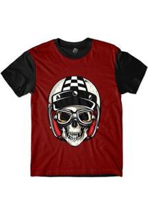 Camiseta Bsc Caveira De Capacete Policial Quadriculado Sublimada Masculina - Masculino-Vermelho
