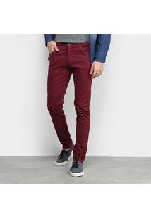 Calça Sarja Grifle Skinny Color Masculina - Masculino-Vinho