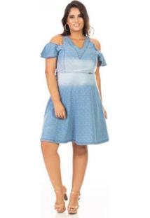 Vestido Jeans Ciganinha Com Alça Plus Size Confidencial Extra Feminino - Feminino-Azul