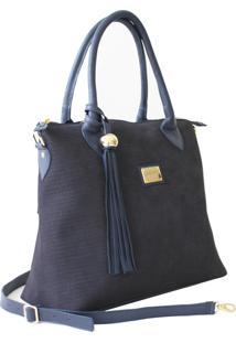 Bolsa Sacola Laceê Blg0159 Nobuck Trisse Azul
